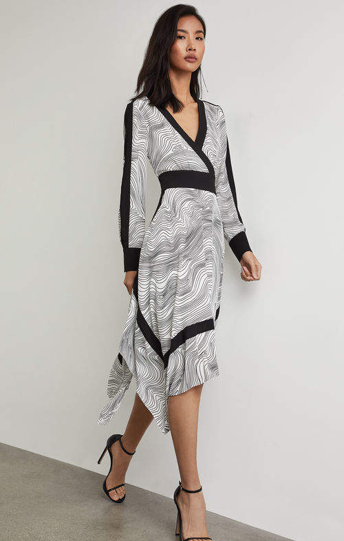 BCBGMAXAZRIA Faux Wrap Handkerchief Dress