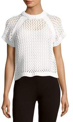 Tibi Cotton-Blend Perforated Knit Top