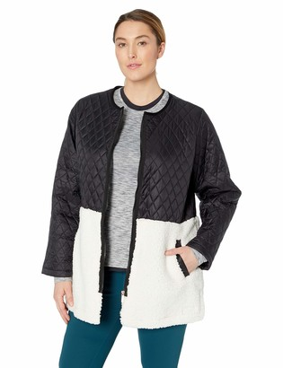 Calvin Klein Women's Plus Size Faux Sherpa Quilted Polyfill Liner Jacket