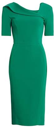 Zac Posen Short-Sleeve Asymmetric Neck Crepe Sheath Dress