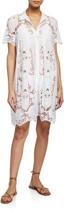 Miguelina Alanna Coverup Dress w/ Granadilla Cotton Embroidery