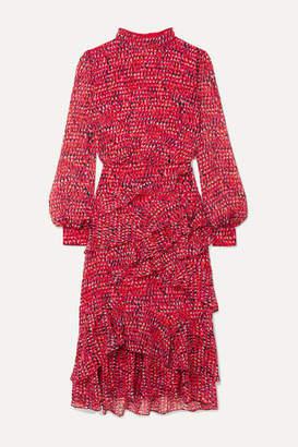 Saloni Isa Ruffled Printed Silk-chiffon Midi Dress - Pink