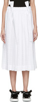 Cédric Charlier White Pleated Lace Skirt