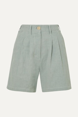 L.F. Markey Pleated Linen And Cotton-blend Shorts - Blue