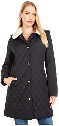 Lauren Ralph Lauren 3/4 Quilted Blazer w/ Corduroy Trim/Berber (Black) Women's Coat