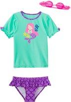 Jump N Splash Girls' Madame Mermaid TwoPiece Short Sleeve Rashguard Set w/ Free Goggles (4-6X) - 8143057