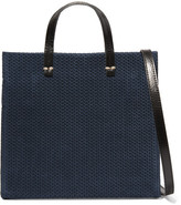 Clare Vivier Simple Small Leather-trimmed Braided Suede Shoulder Bag - Navy