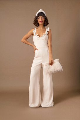 ML Monique Lhuillier Ada Jumpsuit By in White Size 14