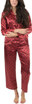 Leveret Women's Sleep Bottoms - Red Heart Satin Pajama Set - Women
