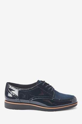 Next Womens Navy Forever Comfort Brogue Detail Chunky Sole Lace-Ups - Blue