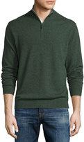 Neiman Marcus Cashmere Zip-Neck Sweater, Olive