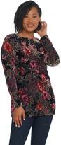 Susan Graver Fully Lined Printed Burnout Velvet Tunic
