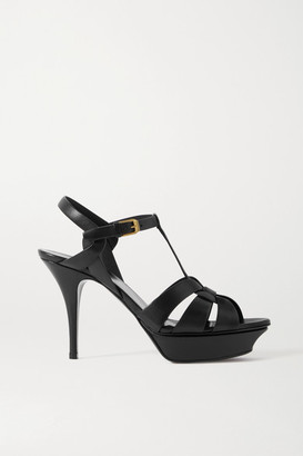 Saint Laurent Tribute Woven Leather Platform Sandals - Black