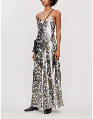 Ganni Floral-pattern silk-blend metallic slip dress