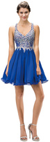 Dancing Queen - Flirty Beaded V-Neck Chiffon A-Line Dress 8997