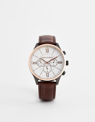 Asos DESIGN watch with mixed metal finish and croc strap in brown