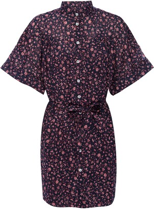 Frame Cuffed Floral Shirtdress