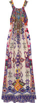 Camilla Embellished Printed Silk Crepe De Chine Maxi Dress - Purple