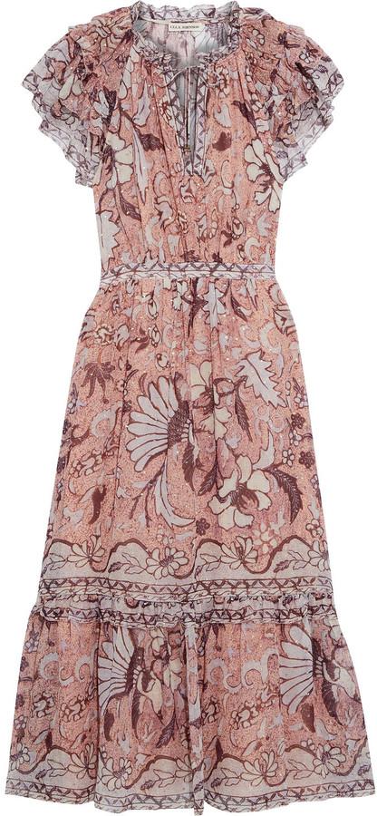 Ulla Johnson Celestia Ruffled Printed Fil Coupe Silk And Lurex-blend Midi Dress