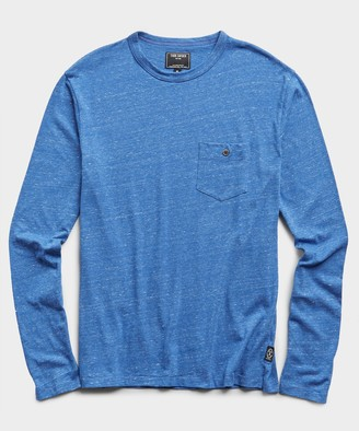 Todd Snyder Long Sleeve Heather Tee in Yacht Club Blue