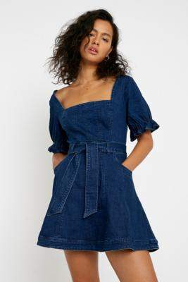 Finders Keepers Finder Keepers Miami Denim Mini Dress - blue XS at Urban Outfitters