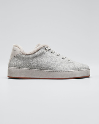 Loro Piana Winter Nauges Cashmere Fur-Lined Sneakers