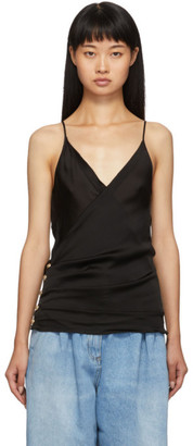 Balmain Black Silk Cross Front Tank Top