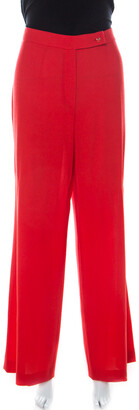 Escada Red Crepe Wool Wide Leg Trousers L