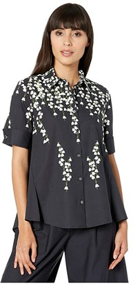 Adam Lippes Printed Cotton Trapeze Top (Lily Black) Women's Clothing