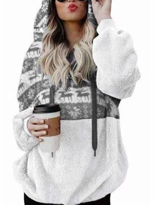 kenoce Women's Fluffy Fleece Hoodie Ladies Oversized Winter Cozy Half Zip Tops Hooded Sweatshirt Pullover Grey M