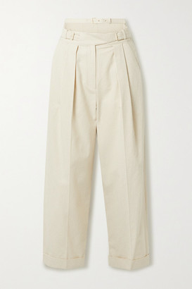 pushBUTTON Pinstriped Pleated Cutout Cotton-blend Tapered Pants - Ecru