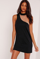 Missguided Asymmetric Neck Mesh Insert Shift Dress Black