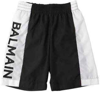 Balmain Logo Printed Nylon Swim Shorts