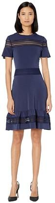 MICHAEL Michael Kors Mesh Mix Short Sleeve Dress (True Navy) Women's Dress