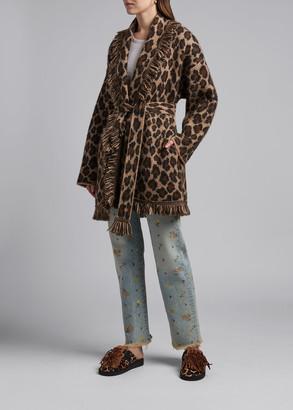 Alanui Leopard Print Alpaca Cardigan
