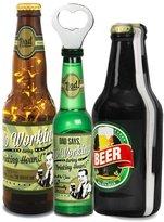 Beer All The Time Gift for Dad Who Loves Beer - 16 oz Beer Bottle Lantern, A World of Beer Gift Book and Magnetic Beer Bottle Opener