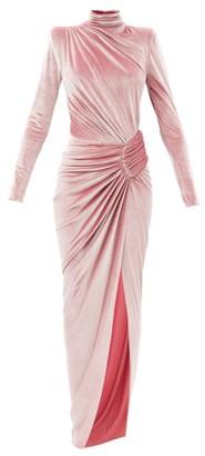 Alexandre Vauthier High-neck Draped Velvet Maxi Dress - Pink