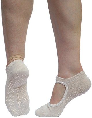 Garnet Label, Made Exclusively For Fit For Barre Garnet Label Barre Socks - Women's Mary Jane Style Non Slip Socks for Barre Yoga and Pilates. - Beige - One Size