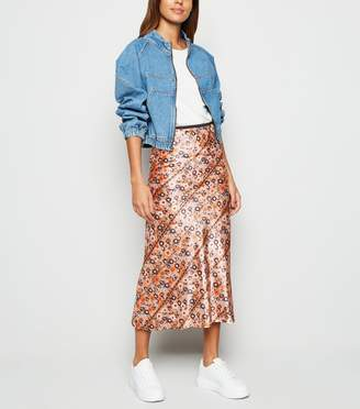 New Look Innocence Floral Aztec Satin Midi Skirt