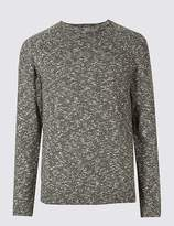 Marks and Spencer Pure Cotton Textured Crew Neck Jumper