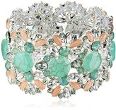 "Nine West Dazzle Me"" Silver-Tone, Seafoam and Pink Large Stretch Bracelet"