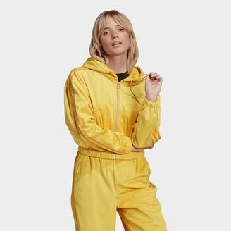 adidas Women's Velvet Corduroy Full-Zip Hooded Track Jacket