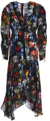 Preen by Thornton Bregazzi Ruched Devore Floral-print Chiffon Maxi Dress