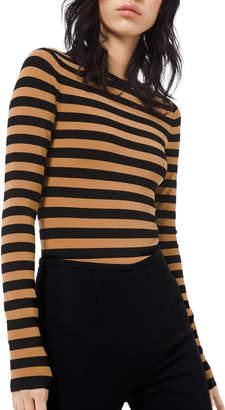 Michael Kors Long-Sleeve Striped Crewneck Bodysuit