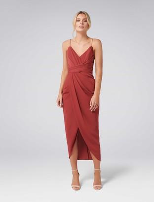 Forever New Charlotte Petite Drape Maxi Dress - Burnt Red - 10