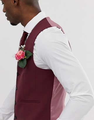 Asos Design DESIGN super skinny suit vest in burgundy-Red