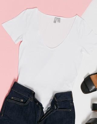 ASOS DESIGN scoop front t-shirt bodysuit in white
