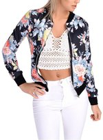 FANOVI Womens Retro Ethnic Long Sleeve Zip Up Floral Print Casual Bomber Jacket S