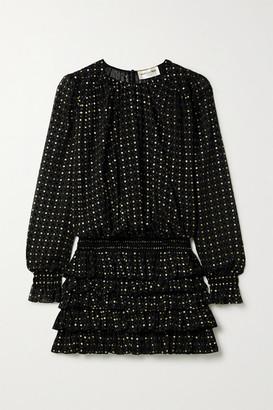 Saint Laurent Ruffled Glittered Flocked Silk-blend Chiffon Mini Dress - Black