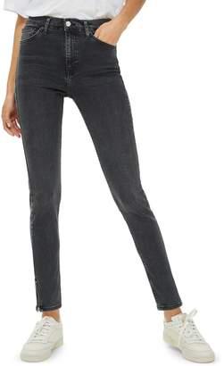 Topshop Washed Black Zip Hem Jamie Jeans 32-Inch Leg